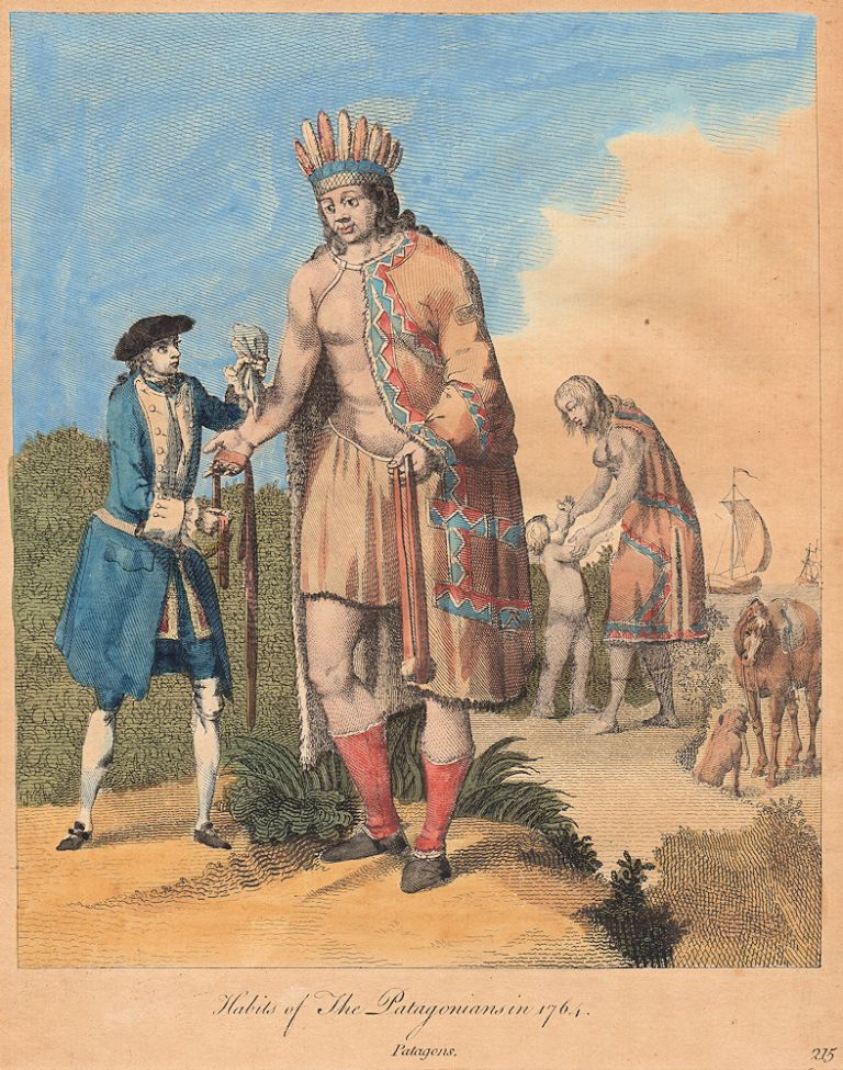 "Hand-colored copperplate engraving of the ""Habits of The Patagonians in 1764"""