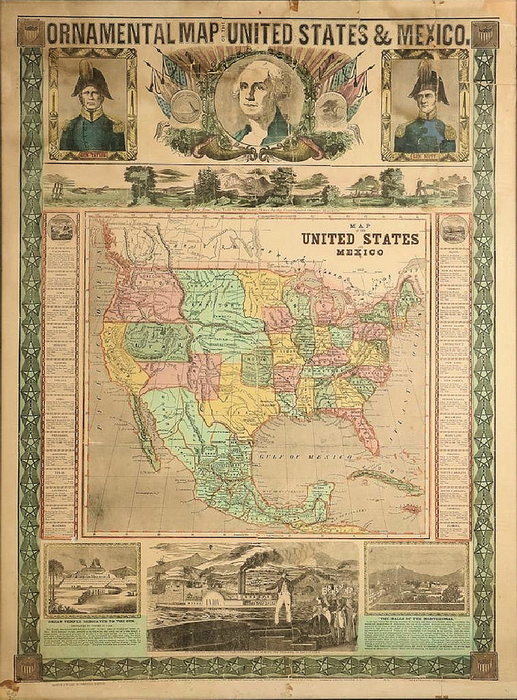 ornamental map of the united states mexico map of the united states and mexico