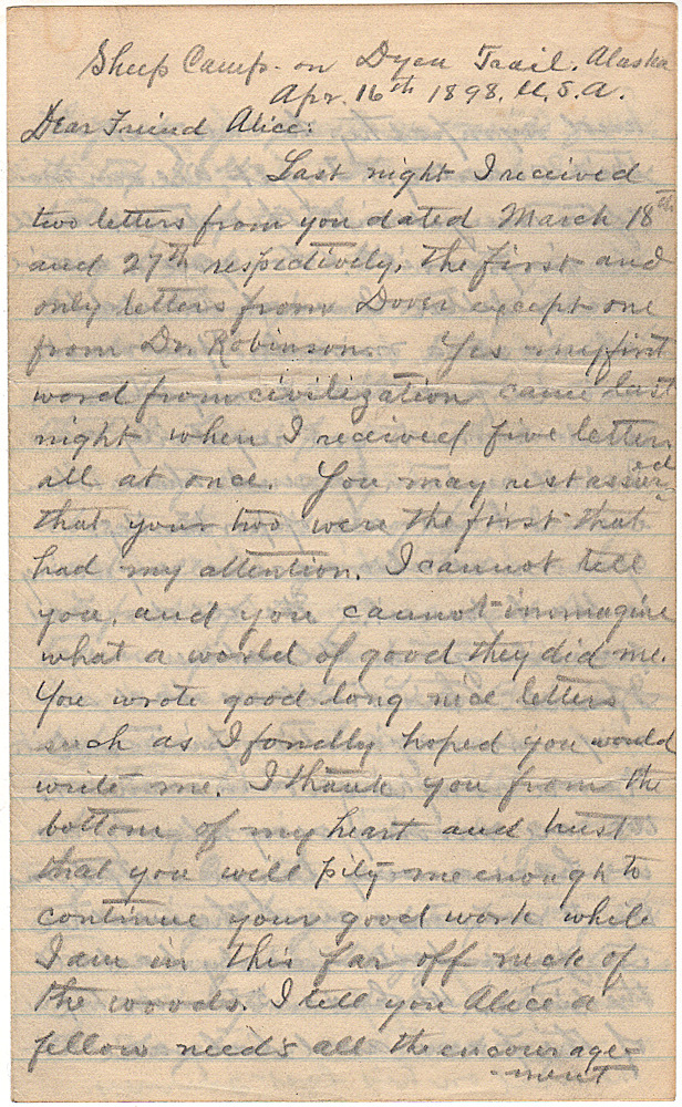 Letter from a prospector recounting the arduous journey over Chilkoot Pass to reach the Yukon gold fields. Unidentified author.