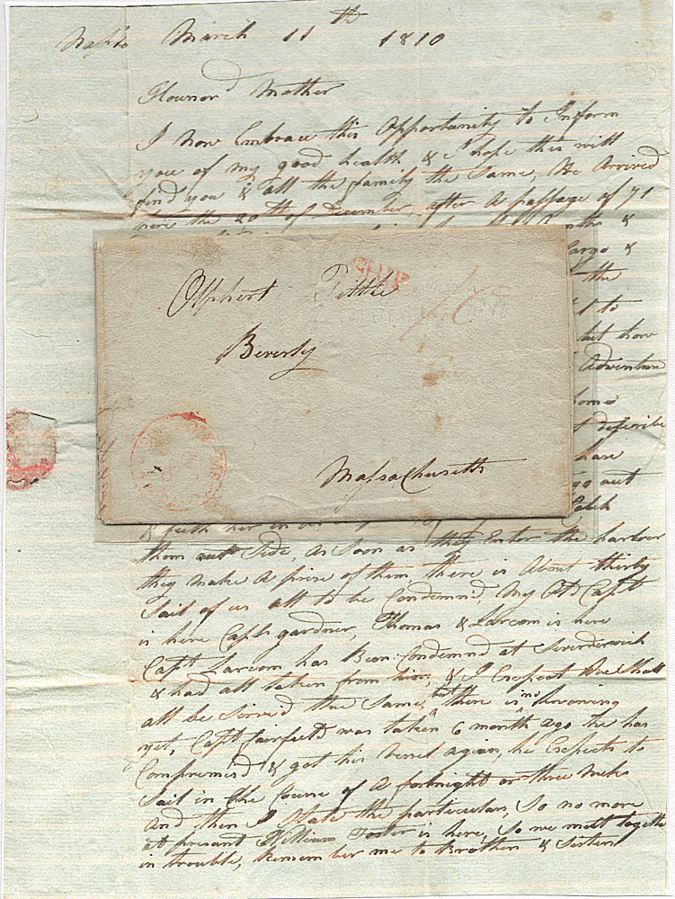 Letter from a U. S. mariner held captive in Naples after his ship was captured and condemned during the Napoleonic Wars. Olphert Tittle.