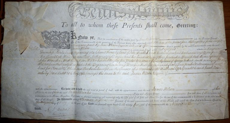 Official Pennsylvania land patent signed by Thomas Mifflin and A. J. Dallas certifying that James Wilson had purchased a tract of land in Berks County. State of Pennsylvania.