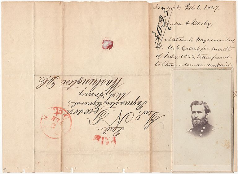 Mexican War postal cover from a pay inquiry regarding Lieutenant U. S. Grant. D. C. by Wyman Submitted to the Paymaster General in Washington, Derby.