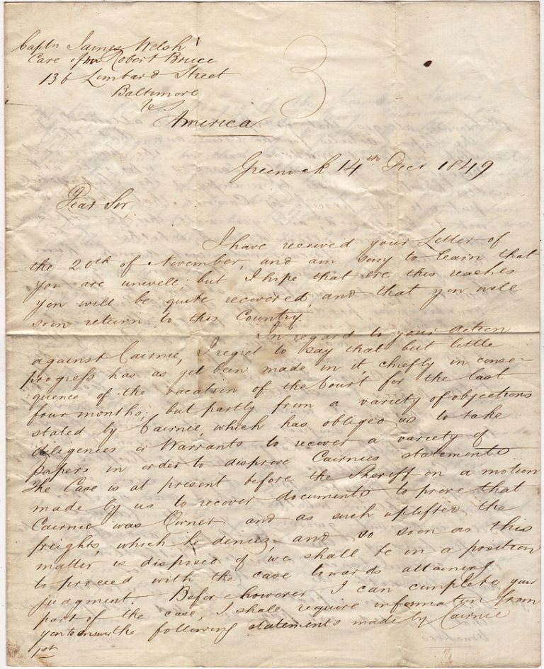 Letter from a Scottish lawyer requesting information from a ship captain in Baltimore about an ill-fated Indian Ocean voyage aboard the Semaramis that included accusations of drunkenness, incompetence, theft, and mutiny. Jno Macdougall.