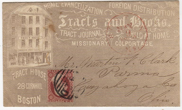 An advertising envelope for the American Tract Society's Tract House