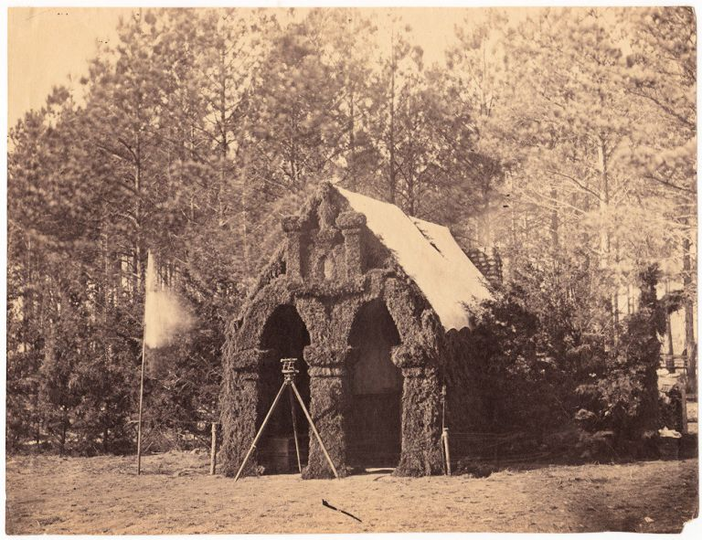 Albumin photograph of the 50th New York Engineers Headquarters at Petersburg, Virginia taken by the famed Civil War photographer, Timothy O'Sullivan. Timothy O'Sullivan.