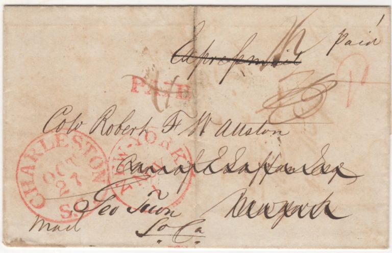Eastern Express mail cover. Sent by Alexander Robertson to Colonel Robert W. Allston