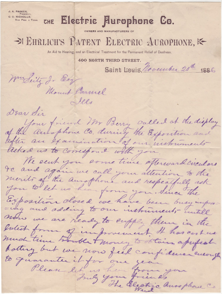 Sales letter from the Electric Aurophone Company promoting Ehrilich's Patent Electric Aurophone
