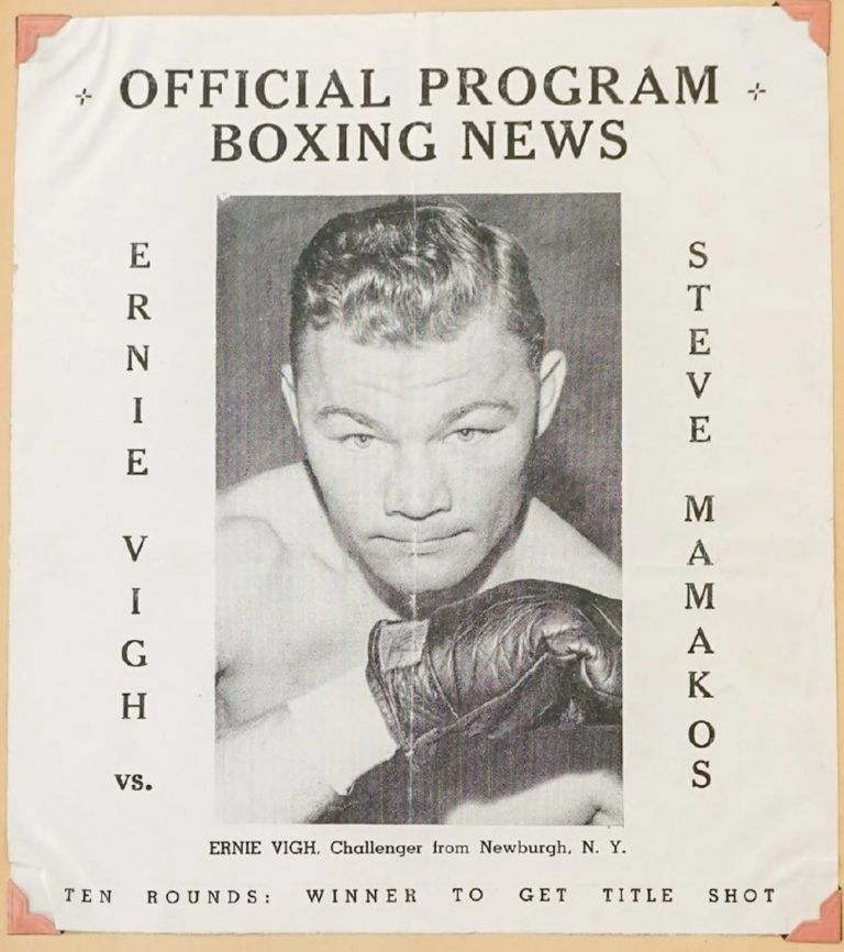 Photograph Album-Scrapbook for an almost-big-time middle-weight fighter, Ernie Vigh, who really 'coulda been a contender and shouda had shots at a coupla title fights'. Margaret Vigh.