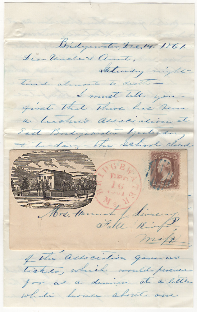 "Letter reporting on a two-day ""teacher's association"" conference that was mailed in an illustrated envelope featuring the two-story Bridgewater Normal School, the first building in the United States specifically built for the education and preparation of future teachers. ""Madison' to ""Uncle, Aunt""."