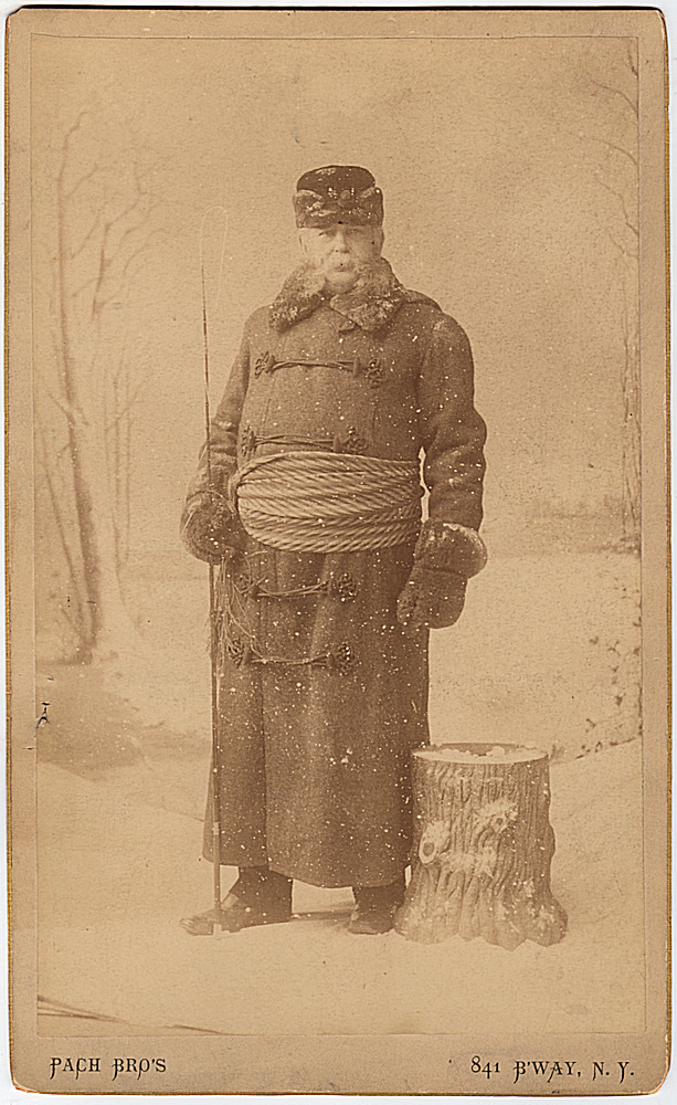 Occupational cabinet card photograph of a New York City coachman in winter dress. Patch Brothers.