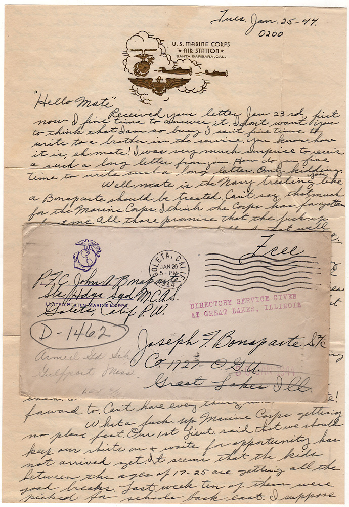 World War II letter from a foul-mouthed, misogynist who hated serving in the Marine Corps. P F. C. John A. Bonaparte to Joseph F. Bonaparte S. 2/C.