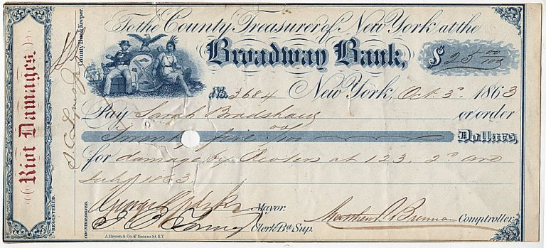 Two checks reimbursing property owners for damage to their buildings incurred during the infamous New York City Draft Riots during the Civil War. Mayor George Opdyke.
