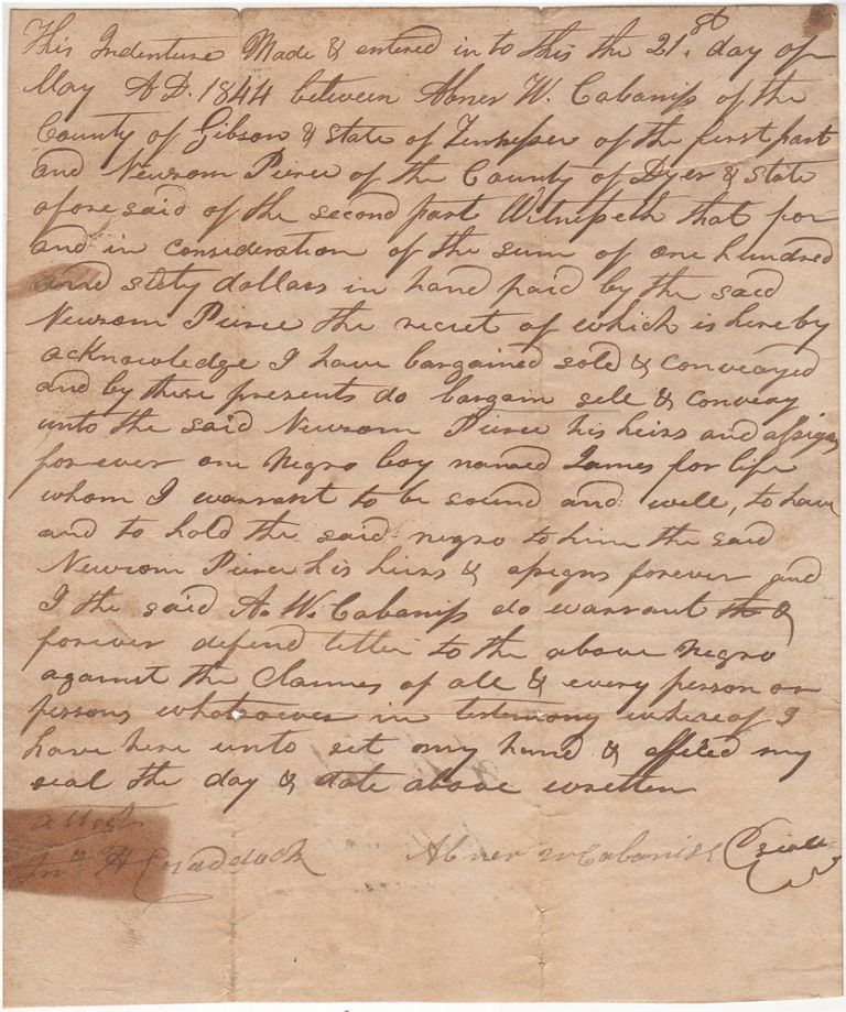 """One-page handwritten bill of sale for a """"Negro boy named James."""". Between Abner W. Cabanss, Newsom Piner."""