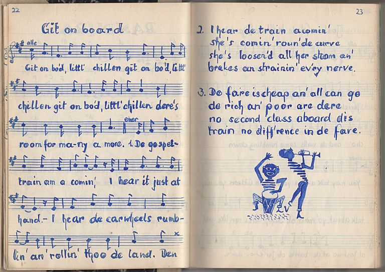 Hand-written and hand-illustrated folksong book with music and lyrics in both German and English. Unidentified compiler and artist.