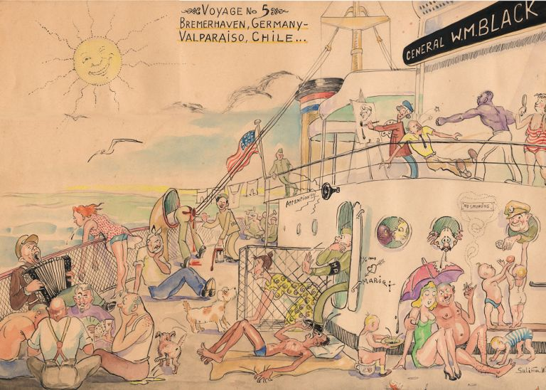 Original comic watercolor documenting life aboard a post-World War II U.S. Army ship transporting displaced persons from Europe to a new life in the Americas. By Sulima W.