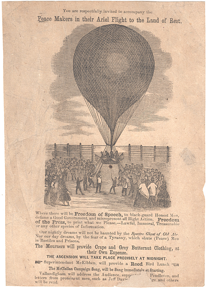 "Handbill advertising a ""Freedom of Speech,"" anti-Lincoln, pro-McClellan, campaign rally featuring a balloon ascension and speech by the exiled Ohio politician Clement Vallandigham. Unidentified."