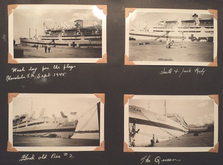 Photograph album documenting service on the World War II Hospital Ship, USAHS Louis A. Milne. Tec 5 Daniel J. Corcoran.