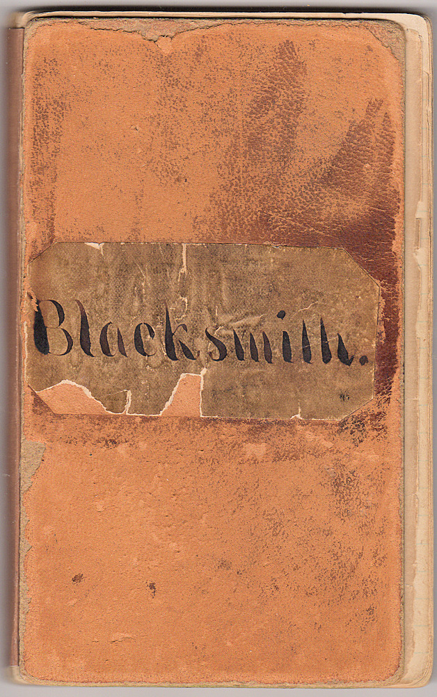 A seven-year account book, titled Blacksmith, identifying the materials purchased from and services provided by nine New Hampshire blacksmiths, wheelwrights, and carriage dealers. Unidentified compiler.