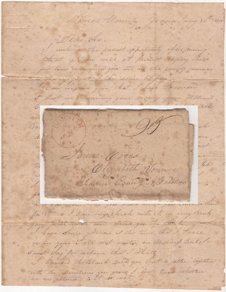 "A stampless, folded letter from a slave-trader in Georgia discussing the price of cotton and ""negro men"" and reporting that business has picked up and he is doing well. From William J. Bryan to James Evers."