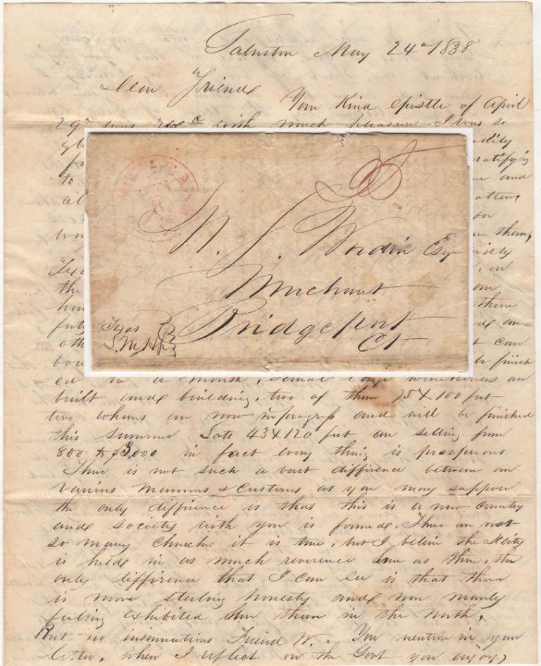 Terrific early Galveston letter by one of its founders , a former officer in the Texas Navy, defending the Republic against spurious comments made by a childhood friend in Connecticut. Lent Munson Hitchcock to N. J. Wordin.