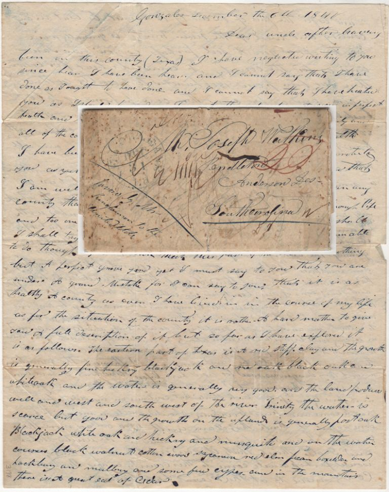 Letter describing Texas from the birthplace of the Texas Revolution as it was finally being resettled following its total destruction in 1836. Nathan Watkins.