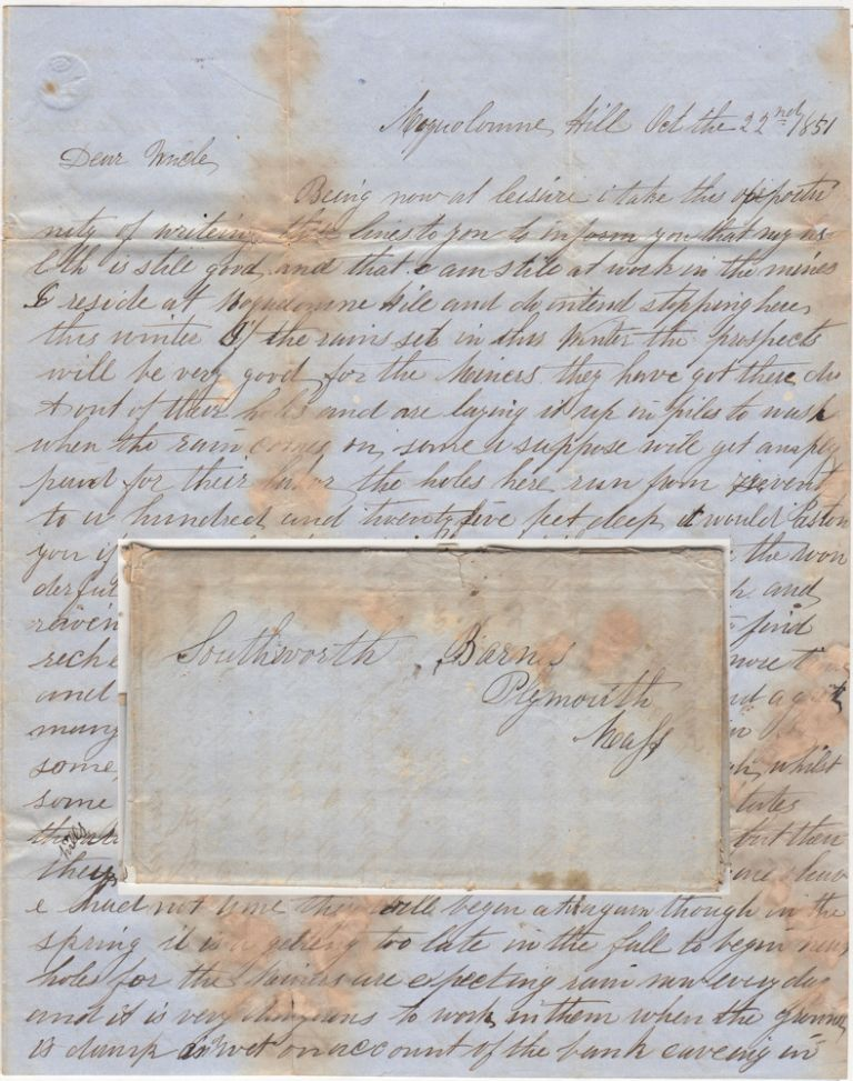 Detailed letter from a miner at the most infamous of all California Gold Rush camps, Mokelumne Hill. From Henry B. Holmes to Southworth Barnes.