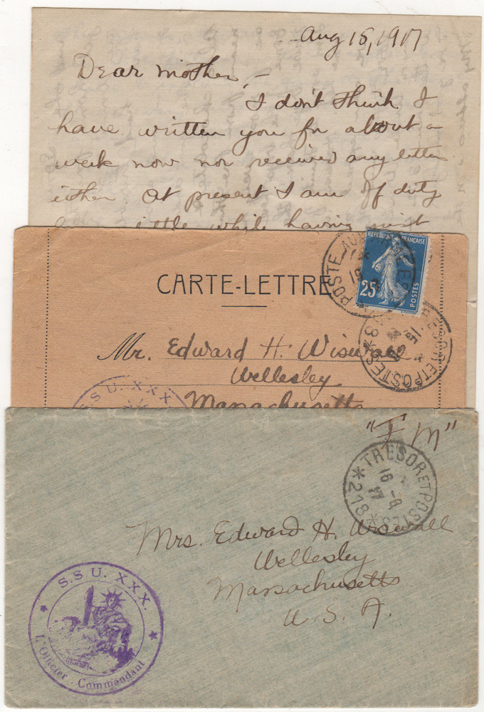 Correspondence from a volunteer serving with an American Field Service in France that supported the 2nd and 10th French Armies. Harold Wiswall.