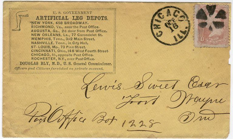 Postally used envelope promoting Civil War Artificial Leg Depots established by Dr. Douglas Bly in conjunction with the U.S. Government. Douglas Bly.