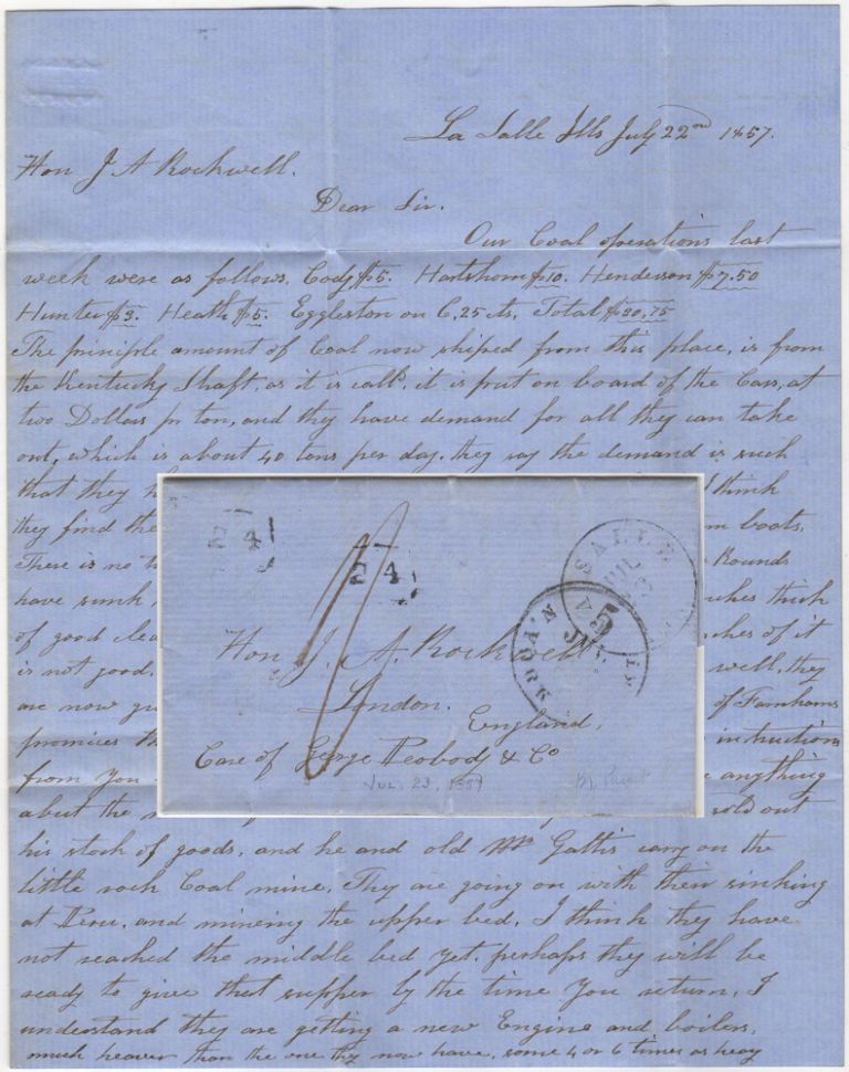 Stampless letter describing the earliest commercial mining of coal at the site it was first discovered in the United States by Father Hennepin in 1669. D. Lathrop to J. A. Rockwell.