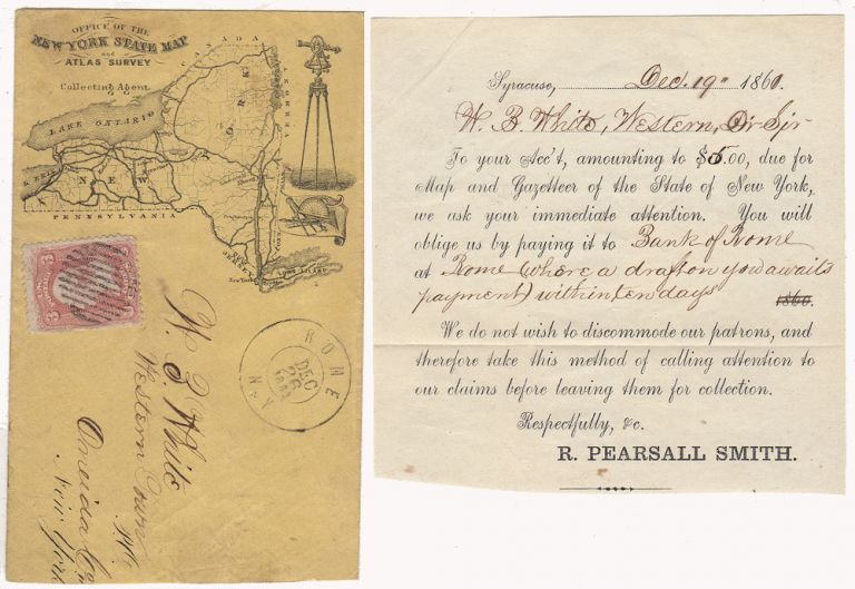 Illustrated envelope, with enclosure, promoting the New York State Map and Atlas Survey. Robert Pearsall Smith.