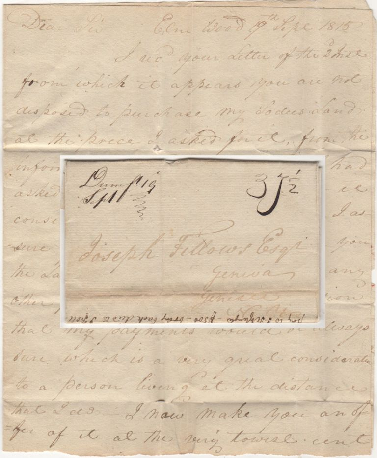 "Stampless ""War Rate"" letter from a land owner in Prince William County, Virginia offering to sell property to a colleague in Genesee County, New York. John Fitzhugh to Joseph Fellows."