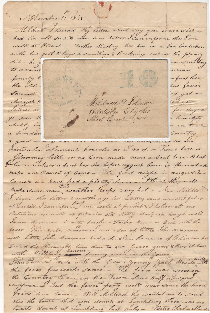 Letter recounting the deaths from Typhus Fever in Lynchburg, Virginia during the summer of 1845. Robert Johnson to Mildred Johnson.
