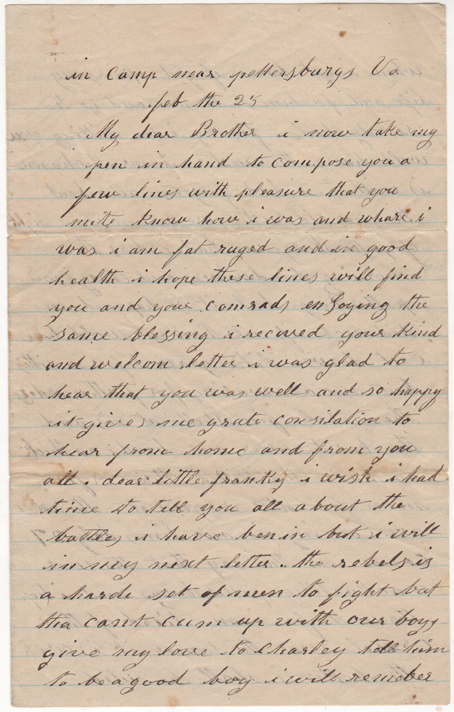 "Civil War letter from Union soldier besieging Petersburg, Virginia describing shelling by Confederate artillery. By ""George""."