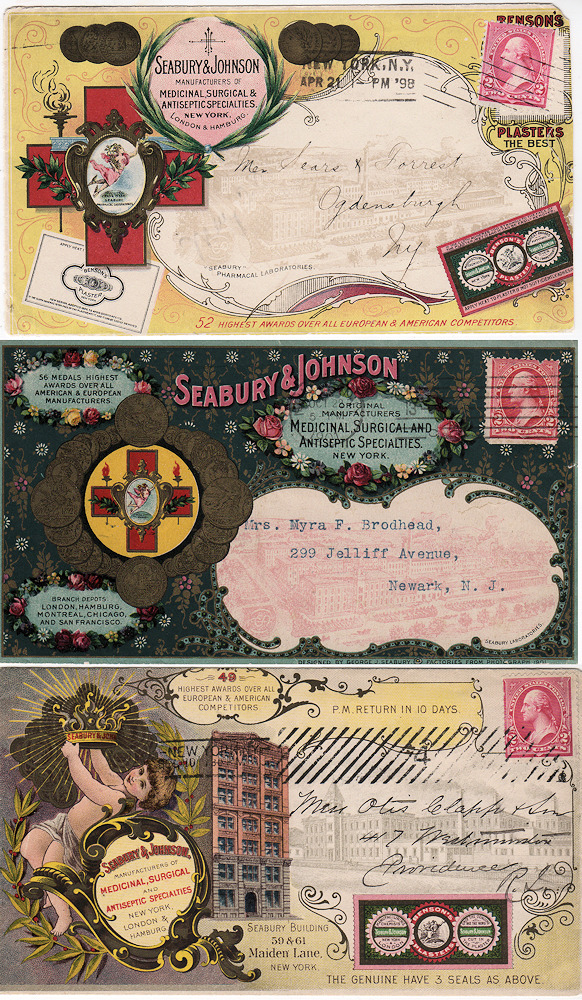"The pinnacle of postal advertising: three end-of-the-19th Century Seabury & Johnson 'all-over"" multicolor illustrated advertising envelopes. George Seabury."