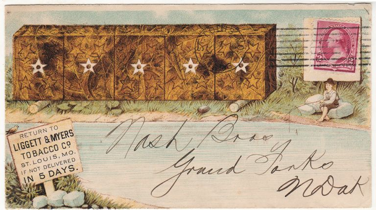"""All-over,"" multicolor illustrated advertising envelope for Liggett & Myers Tobacco Company"