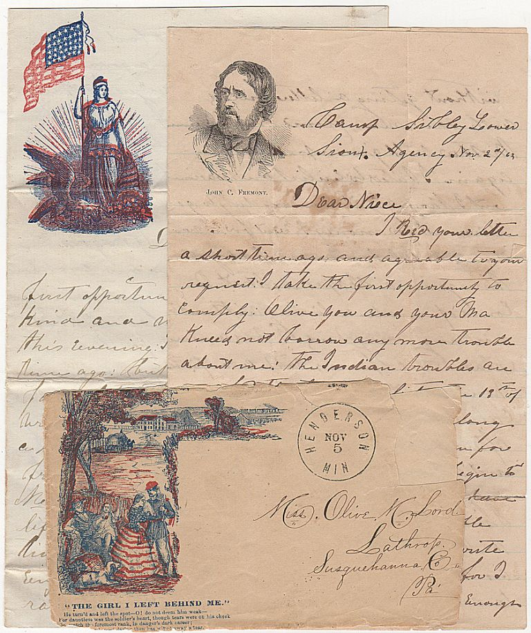 Two letters from a Minnesota militiaman who fought against the Sioux follow their barbarous attacks upon settlers and witnessed the hangings of the warriorswho had committed the worst atrocities. William Stephens.