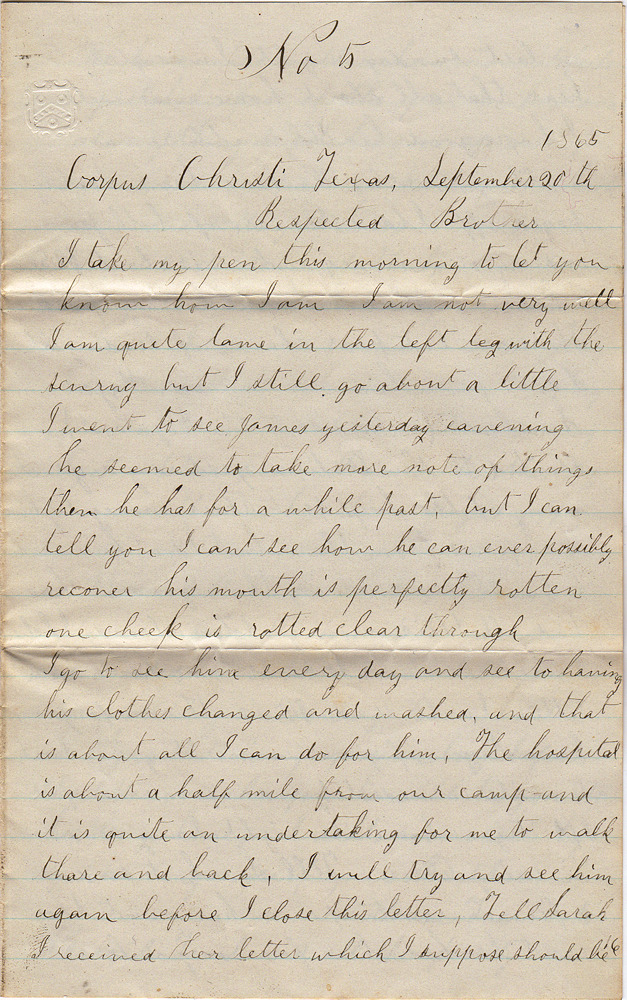 Exceptionally scarce, poignant, and historically significant Civil War letter from a well-educated African-American soldier who served in the U. S. Colored Troops informing family at home that he was ministering to a brother who was about to die from scurvy. William Trail to Barzil Trail.