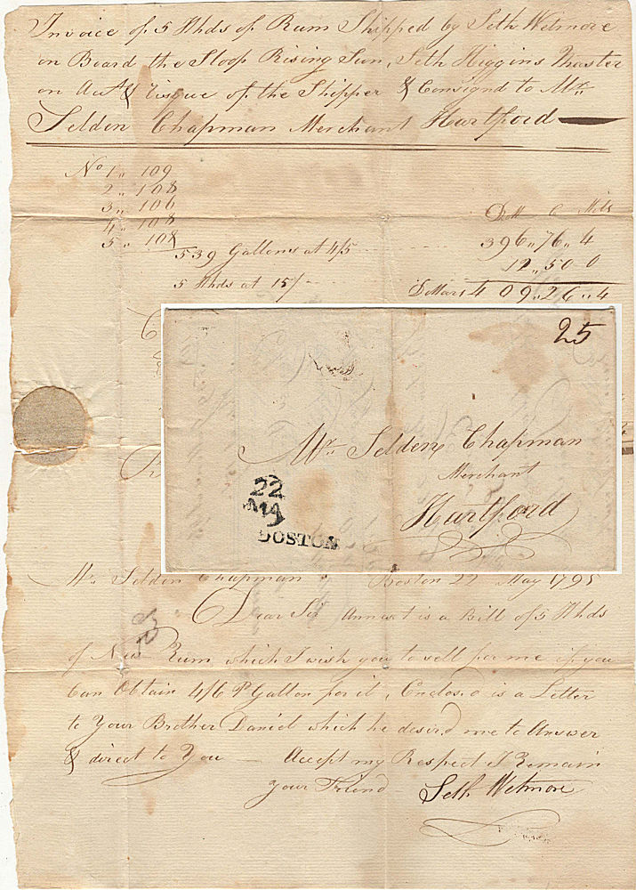 Mailed invoice for shipping five hogsheads of rum delivered by the New England slave ship, Sloop Rising Sun, on the rum-delivery leg of a triangle-trade voyage to the West Indies and Africa. Consigned to Selden Chapman from Seth Wetmore for, Master Seth Higgins.