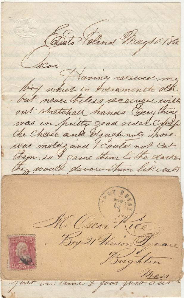 "A letter from a Union soldier from Massachusetts stationed at one of the main colonies of escaped slaves describing the receipt of a food box from home and joking about feeding garbage to the ""darkies"". Calvin Rice to Oscar Rice."