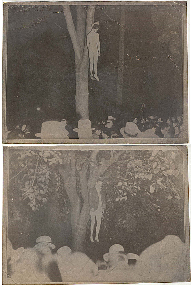 Two photographs of the last lynching in California following the kidnapping and brutal murder of Brooke Hart. Unidentified photographer.