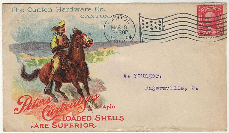 Illustrated advertising cover for Peters Cartridges and Shells