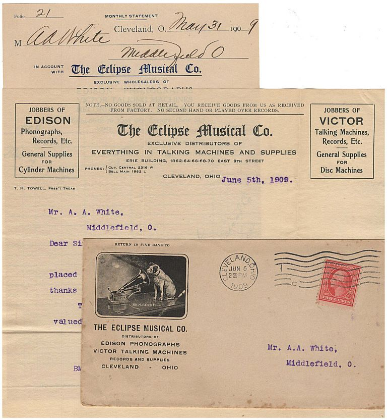 """Business letter and invoice for a phonograph wholesaler enclosed in an illustrated advertising envelope featuring the famous """"His Master's Voice"""" illustration of a dog listening to a recording. B. M. Pierce."""