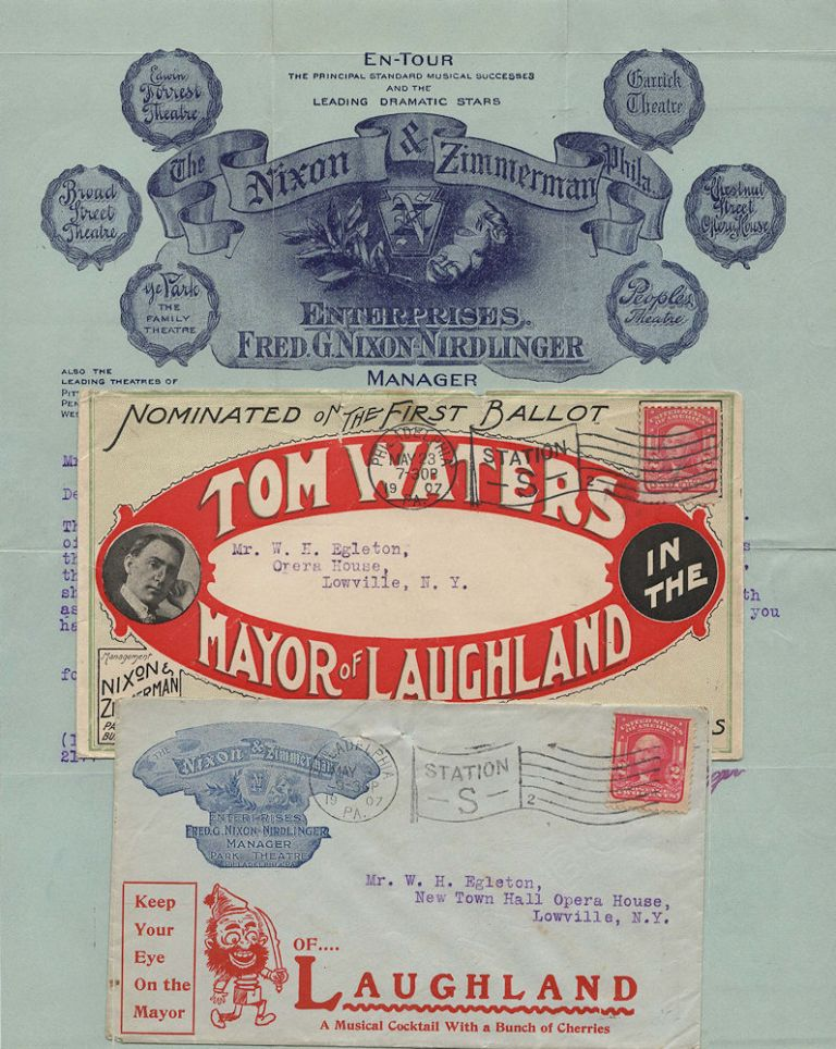 Small packet material relating to Tom Water's piano-comedy, The Mayor of Laughland. Fred G. Nixon-Nirdlinger.