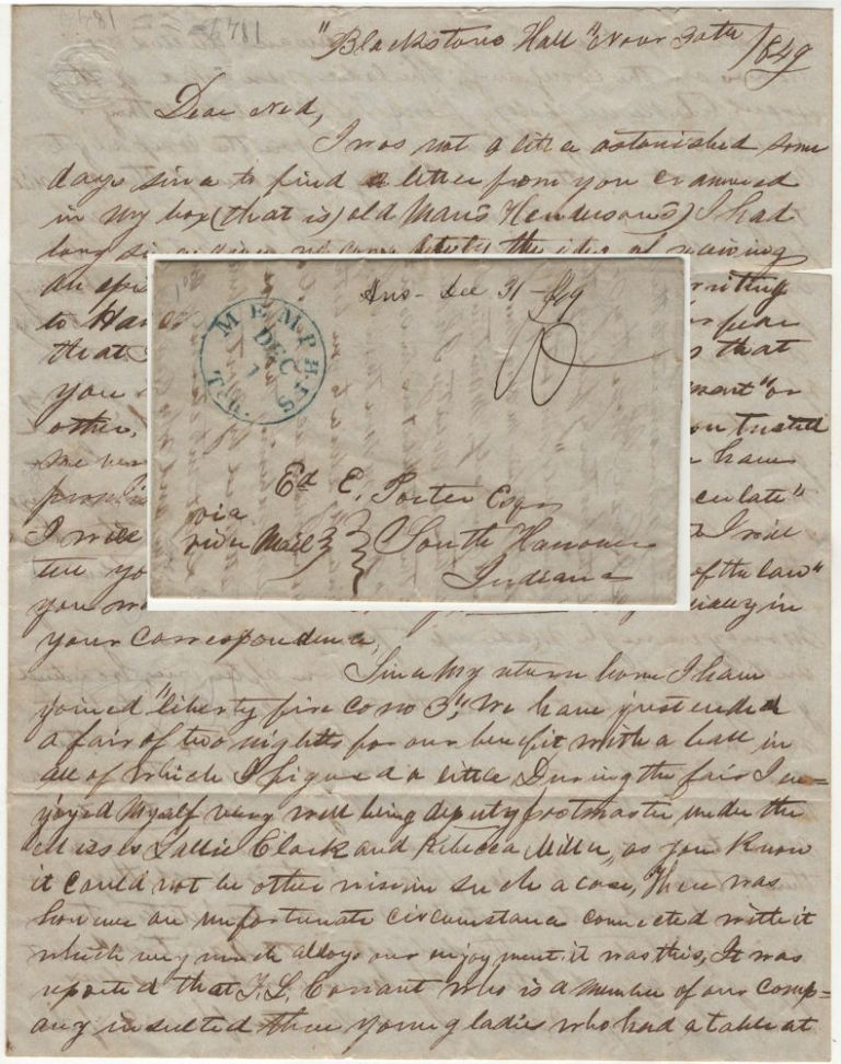 "Letter from a young lawyer and recent graduate of Hanover College to a friend who was still enrolled reporting the founding of an early independent Memphis fire company to include the purchase of an engine and misconduct at a firemen's ball. Xenophon, B. Sanders to Edward ""Ned"" C. Porter."