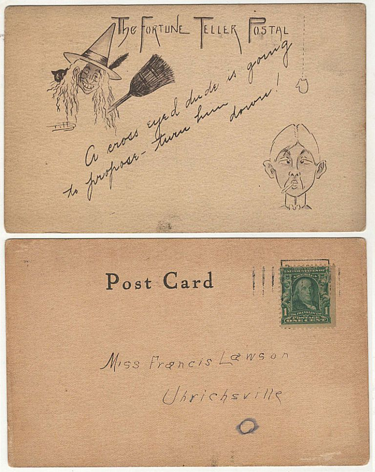 A hand-drawn humorous fortune-telling card featuring a witch and cross-eyed man