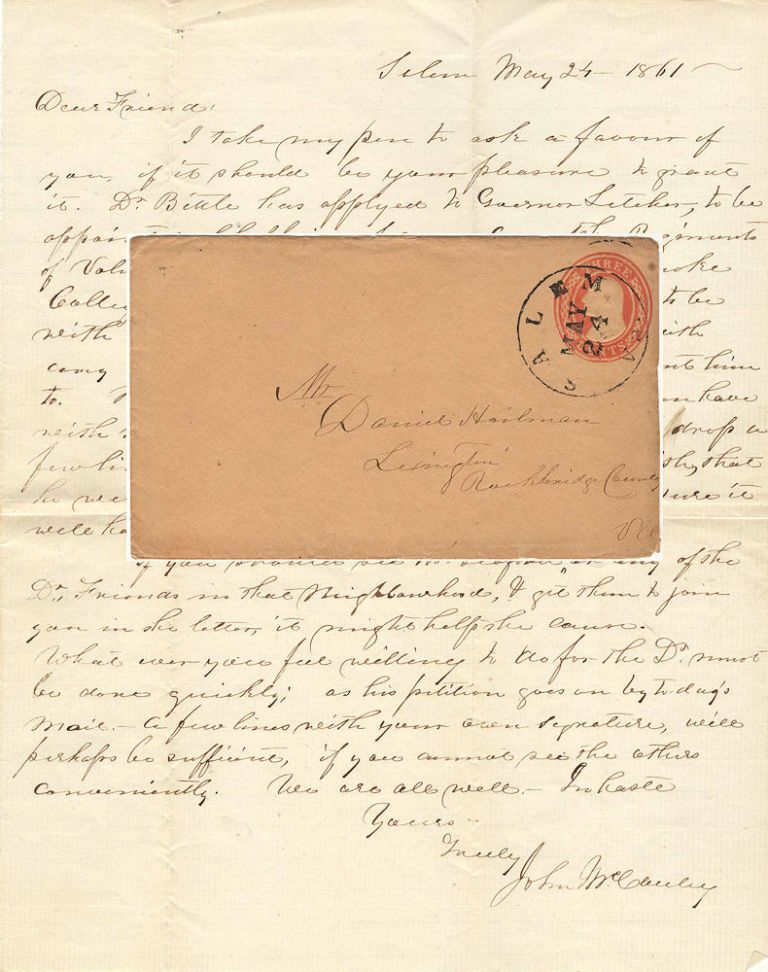 The only known U.S. postal envelope mailed through the Confederate post office at Salem Virginia; it was used to carry a letter requesting support for the appointment of the Roanoke College President as a Chaplain in the Confederate Army. James McCauley.