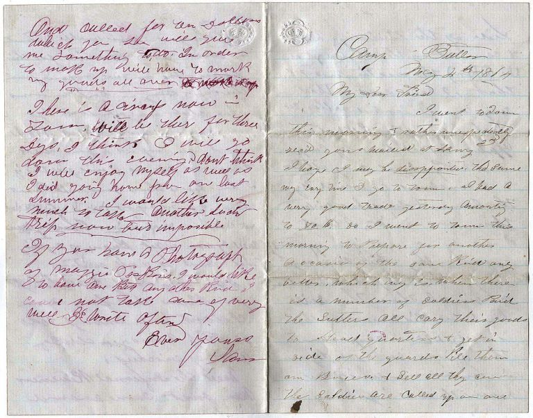 "Four-page letter from a sutler describing how he sold goods to soldiers at a large training camp. ""Sam""."