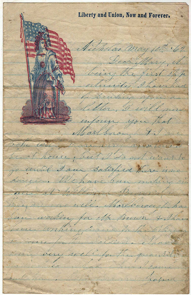 Letter from a displaced Southern Unionist who fled his Virginia home to avoid violence. John T. Blake.