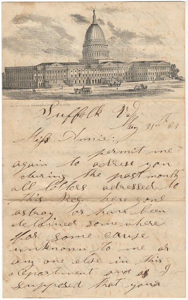 Letter from an Indiana soldier stationed at Suffolk, Virginia commenting upon an attempt by Indiana Democrats to overthrow the state government. W. Lewis.