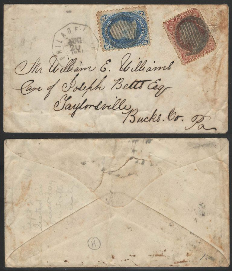 Although not a First Day of Issue, this is the earliest known use on cover of the one-cent blue Franklin stamp (Scott #63) with APS certificate; Although not a First Day of Issue, this is the earliest known use on cover of the one-cent blue Franklin stamp (Scott #63) with APS certificate